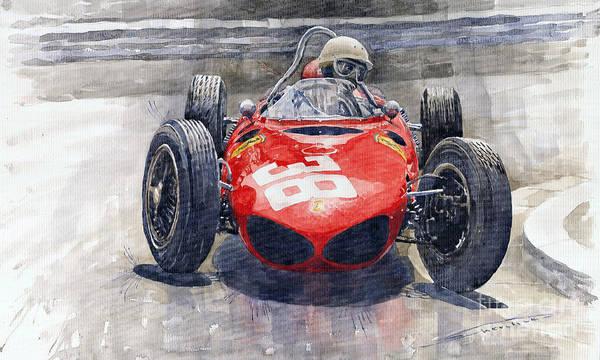 Racing Car Wall Art - Painting - Ferrari 156 Sharknose Phil Hill Monaco 1961 by Yuriy Shevchuk
