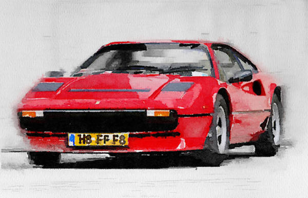 Car Mixed Media - Ferrari 208 Gtb Turbo Watercolor by Naxart Studio