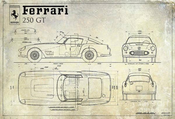 Vintage Car Drawing - Ferrari 250 Gt Blueprint Antique by Jon Neidert