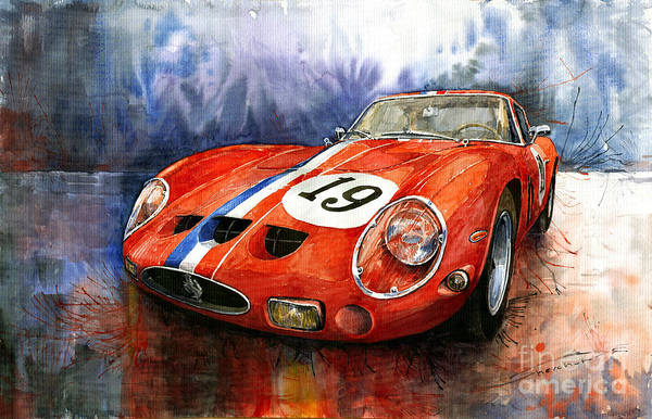 Watercolours Wall Art - Painting - Ferrari 250 Gto 1963 by Yuriy Shevchuk