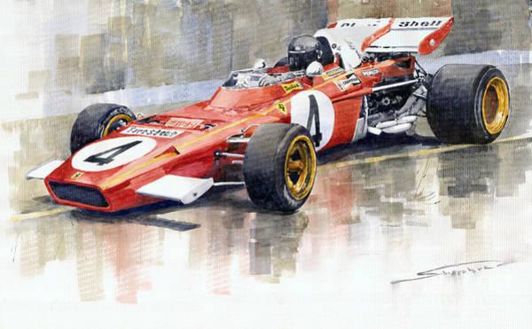 Wall Art - Painting - 1971 Ferrari 312 B2 1971 Monaco Gp F1 Jacky Ickx by Yuriy Shevchuk