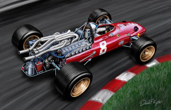 12 Wall Art - Painting - Ferrari 312 F-1 Car by David Kyte