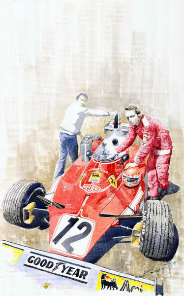 Wall Art - Painting - Ferrari 312t Monaco Gp 1975 Niki Lauda Winner by Yuriy Shevchuk
