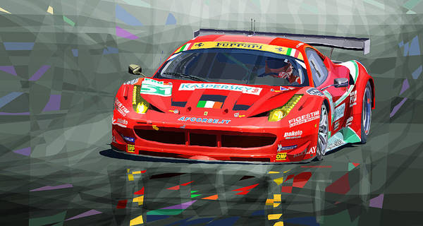 Le Mans 24 Wall Art - Mixed Media - 2012 Ferrari 458 Gtc Af Corse by Yuriy Shevchuk