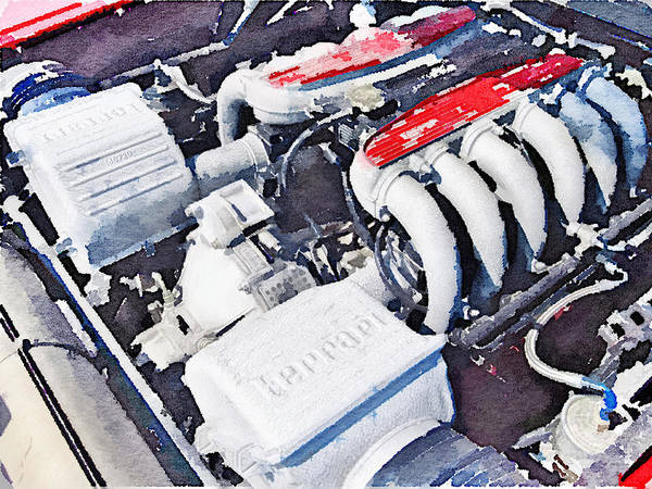 Ferrari Wall Art - Painting - Ferrari 512 Tr Testarossa Engine Watercolor by Naxart Studio
