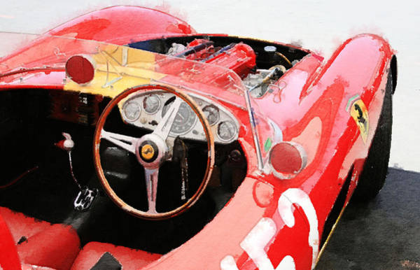 Car Mixed Media - Ferrari Cockpit Monterey Watercolor by Naxart Studio