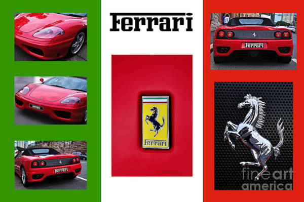 Dual Exhaust Photograph - Ferrari Collage On Italian Flag by Kaye Menner