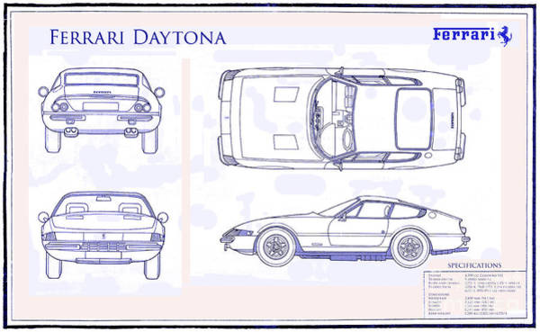Wall Art - Drawing - Ferrari Daytona Blue Print  by Jon Neidert