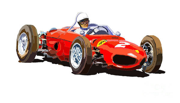Racing Car Digital Art - Ferrari Dino 156 1962  by Yuriy Shevchuk