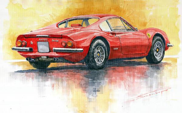 Classic Painting - 1969-1974 Ferrari Dino 246 by Yuriy Shevchuk