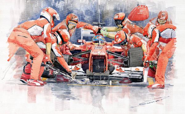 Transport Wall Art - Painting - 2012 Ferrari F 2012 Fernando Alonso Pit Stop by Yuriy Shevchuk