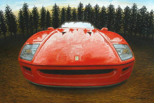 Super Car Mixed Media - Ferrari F40 by Joao Saldanha
