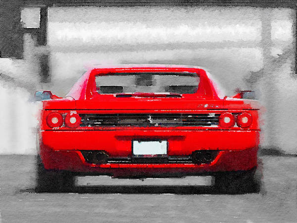 Car Mixed Media - Ferrari F512 Rear Watercolor by Naxart Studio