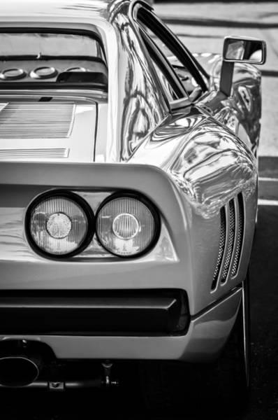 Photograph - Ferrari Gto 288 Taillight -0631bw by Jill Reger
