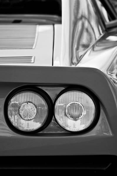Photograph - Ferrari Gto 288 Taillight -0635bw by Jill Reger