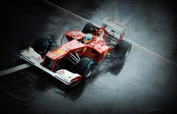 Formula One Digital Art - Ferrari Rain Dance by Peter Chilelli
