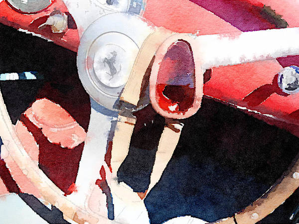 Ferrari Painting - Ferrari Steering Wheel Watercolor by Naxart Studio