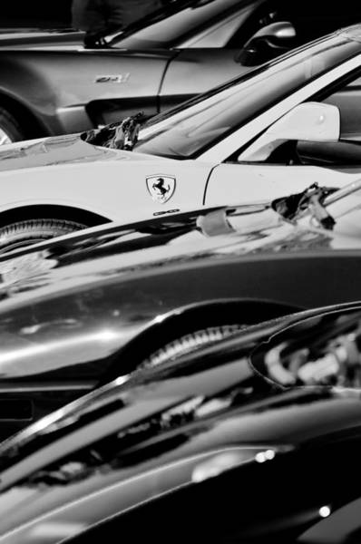 Photograph - Ferrari - Supercars -0655bw by Jill Reger