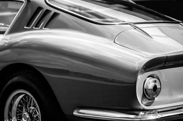 Tail Light Photograph - Ferrari Taillight -0039bw by Jill Reger