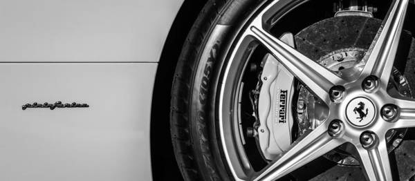 Photograph - Ferrari Wheel Emblem -0499bw by Jill Reger
