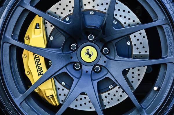 Brakes Photograph - Ferrari Wheel Emblem - Brake Emblem -0430c by Jill Reger