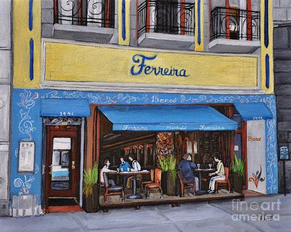Montreal Street Scene Wall Art - Painting - Ferreira Cafe  by Reb Frost