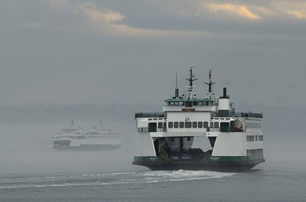 Photograph - Ferries Pass In The Fog by E Faithe Lester