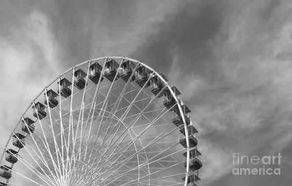 Ferris Wheel Black And White Art Print