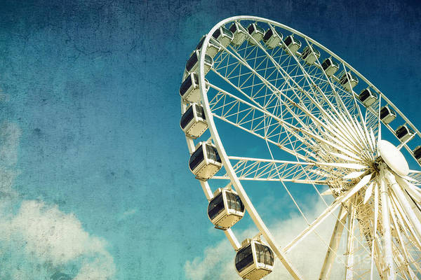 Blue Sky Wall Art - Photograph - Ferris Wheel Retro by Jane Rix