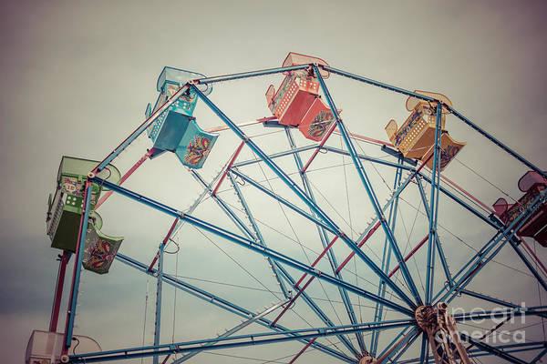 Balboa Photograph - Ferris Wheel Vintage Photo In Newport Beach California by Paul Velgos
