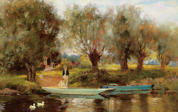 Riverbank Painting - Ferry At Clifton by Henry John Yeend King