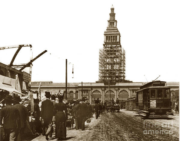 Photograph - Ferry Building Foot Of Market St. San Francisco Earthquake And Fire Of April 18 1906 by California Views Archives Mr Pat Hathaway Archives
