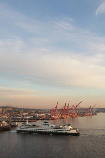 Dock Of The Bay Photograph - Ferry Docking Near Port Of Seattle by John & Lisa Merrill
