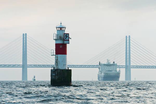 Skane Photograph - Ferry On Sea, Oresund Bridge In by Johner Images