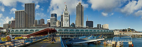 San Francisco Harbor Photograph - Ferry Terminal With Skyline At Port by Panoramic Images