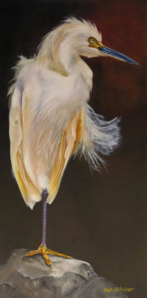 Wall Art - Painting - Fervent Egret by Phyllis Beiser
