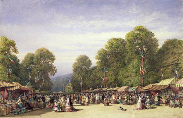 Fete Wall Art - Drawing - Festival At St. Cloud, C.1860 by William Wyld