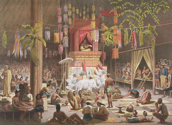 Mat Drawing - Festival In A Pagoda At Ngong Kair by Louis Delaporte