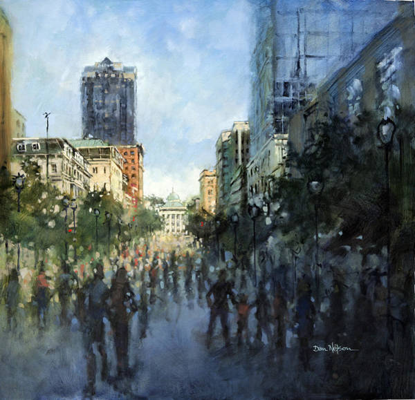 Downtown Raleigh Wall Art - Painting - Festival Morning by Dan Nelson