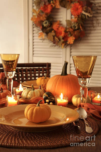 Photograph - Festive Autumn Place Settings For Thanksgiving by Sandra Cunningham