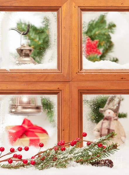 Window Pane Photograph - Festive Christmas Window by Amanda Elwell