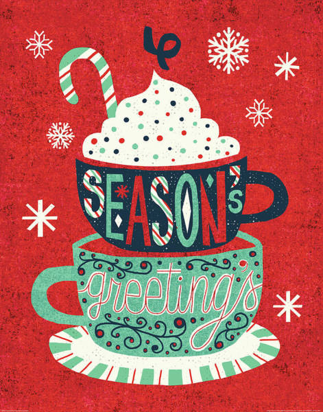 Cane Painting - Festive Holiday Cocoa Seasons Greetings by Michael Mullan