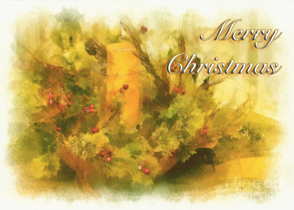 Candles Digital Art - Festive Merry Christmas Candle Card by Lois Bryan