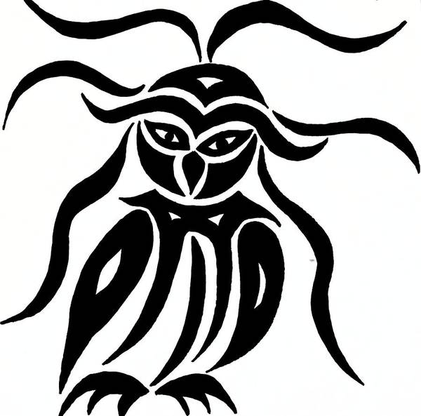 Drawing - Festive Owl by Beth Akerman