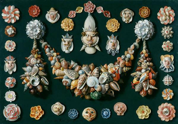 Wall Art - Painting - Festoon Masks And Rosettes Made Of Shells by Jan van Kessel the Elder