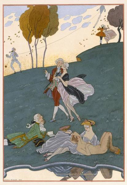 Poem Painting - Fetes Galantes by Georges Barbier
