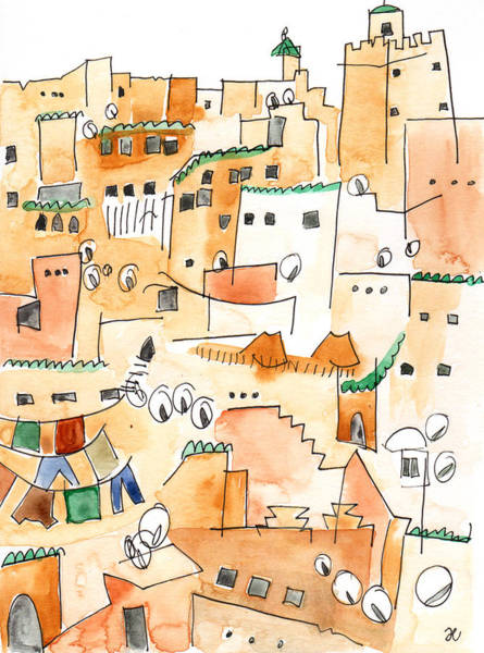 Painting - Fez Medina Roofline by Anna Elkins