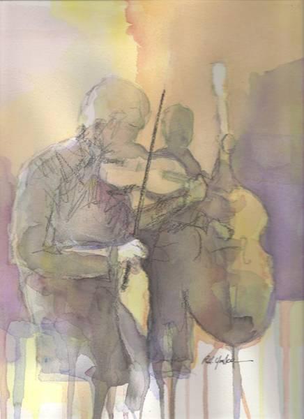 Bass Player Wall Art - Painting - Fiddle N' Bass  by Robert Yonke