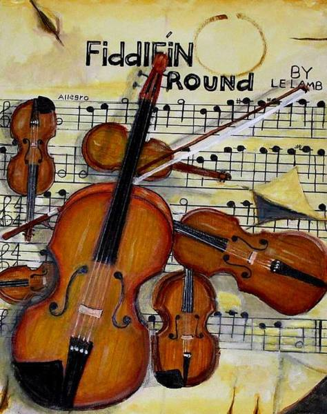 Wall Art - Painting - Fiddlein Round by Larry E Lamb