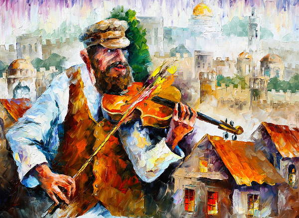 Jewish Music Wall Art - Painting - Fiddler  In Jerusalem 2 New by Leonid Afremov